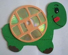 Recycled CD toys for kids, tortoise wall hanging from old cd
