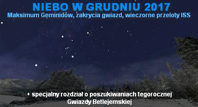 NIEBO NAD NAMI (12) - Grudzień 2017 - Maksimum Geminidów, zakrycia gwiazd, wieczorne przeloty ISS