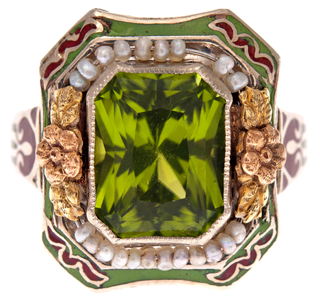 Antique peridot, enamel, and pearl ring, circa 1900.