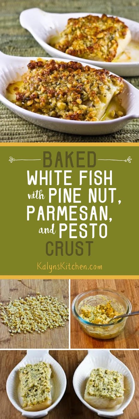 Baked White Fish With Pine Nut Parmesan And Basil Pesto Crust