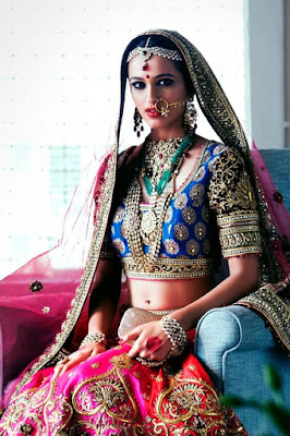 Beautiful Indian Model Girl In Elegant And Luxurious Style Wedding Dress.