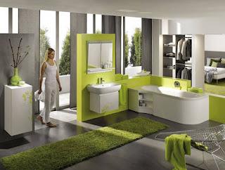 baño verde gris