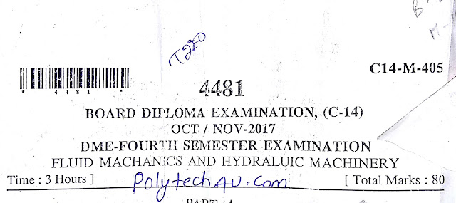 FLUID MACHANICS AND HYDRALUIC MACHINERY OLD QUESTION PAPER 2018