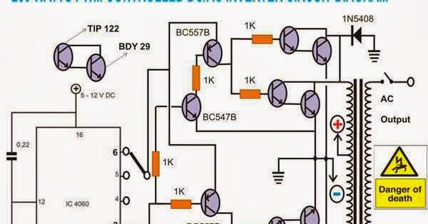 ELEKTRONIKA: 250 WATTS DC/AC INVERTER CIRCUIT DIAGRAM
