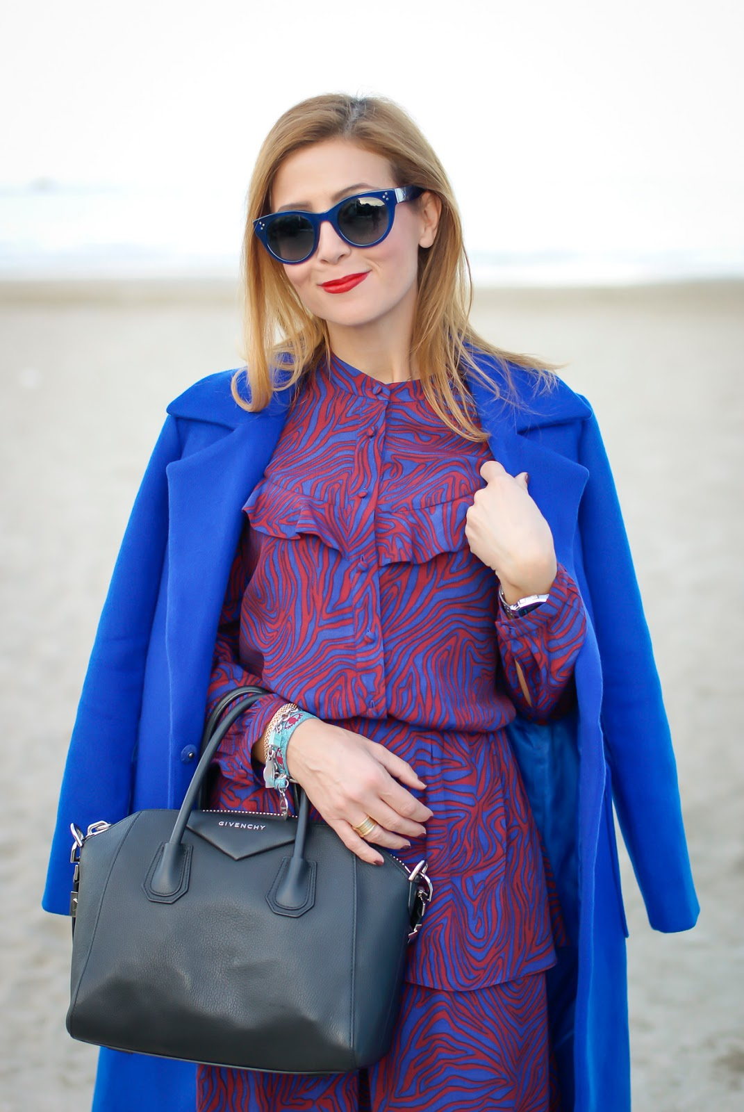A long belted wrap coat from Dezzal worn with & Other Stories dress on Fashion and Cookies fashion blog, fashion blogger style