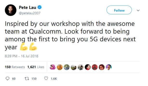 OnePlus 5G Smartphone With Qualcomm Snapdragon 855 Will Launch in 2019 Company CEO Confirms