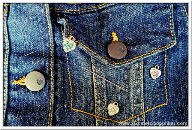 Add some bling to denim with cute sew-on charms  |  3 Garnets & 2 Sapphires