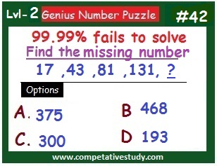 Math Puzzle: Find the missing number: 17, 43, 81, 131, ?