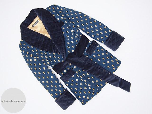 mens dark blue smoking jacket robe dressing gown warm velvet cotton quilted silk gentleman traditional 1920s robes