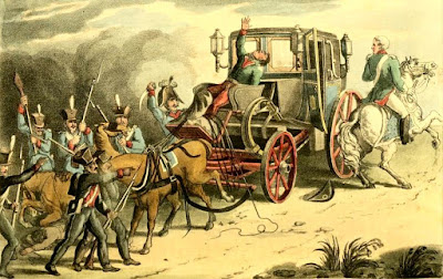 The capture of Napoleon's carriage after the Battle of Waterloo  from Ackermann's Repository (1816)