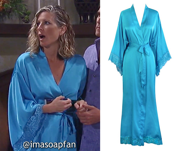 Carly Corinthos, Laura Wright, Turquoise Blue Robe with Lace Trim, Old Shanghai, General Hospital, GH