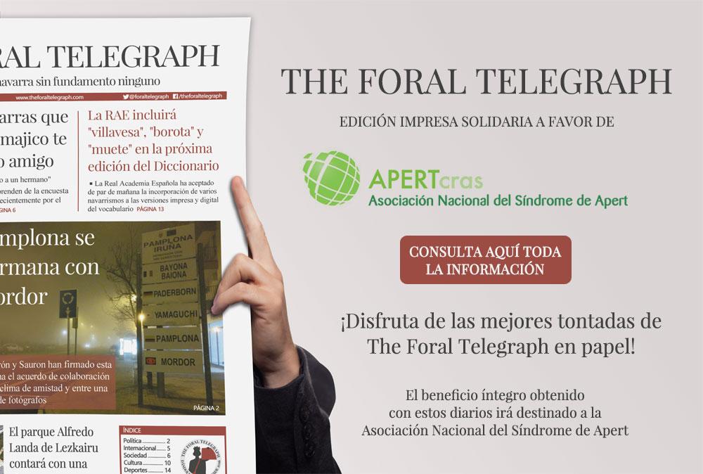 Edición solidaria en papel de The Foral Telegraph a favor del Síndrome de Apert