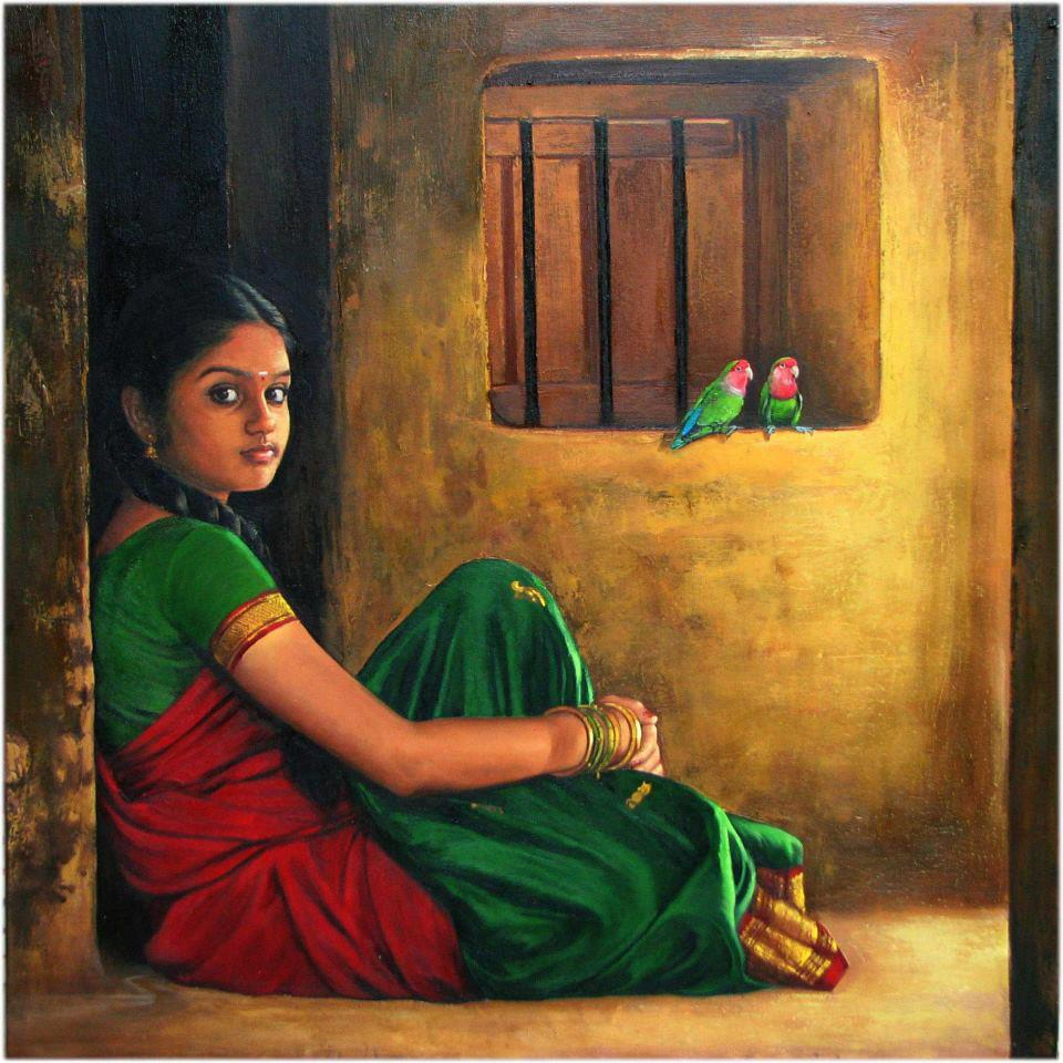 High Quality Oil Painting of South Indian Village Girl sittingBeautiful Indian Village Paintings