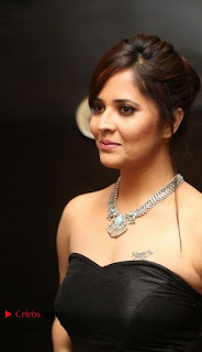 Telugu Anchor Actress Anasuya Bharadwa Stills in Strap Less Black Long Dress at Winner Pre Release Function  0009.jpg