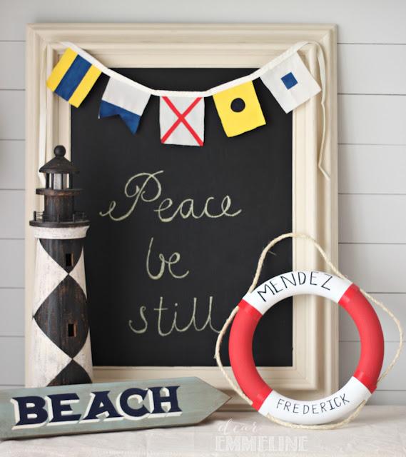 DIY Maritime Flag Bunting with Lifebuoy Wreath - #crafts #diy #nautical #bunting #maritime #flag