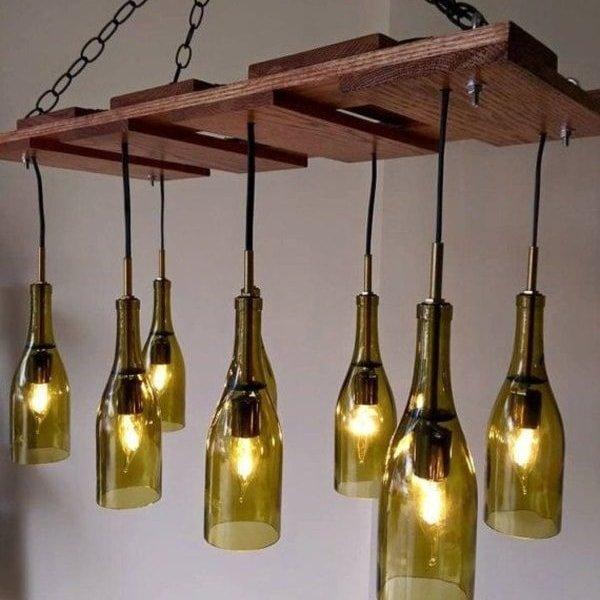 Luminária Pendente de Garrafa de Vidro