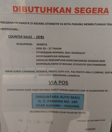 Lowongan Kerja di Padang – Dirgantara Auto Mall – Counter Sales – (Penutupan 15 Okt.2016)