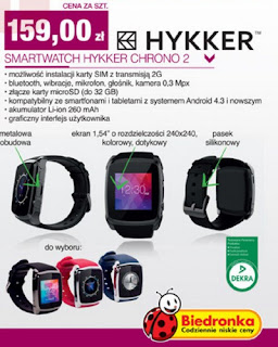 Smartwatch Hykker Chrono 2 Biedronka ulotka