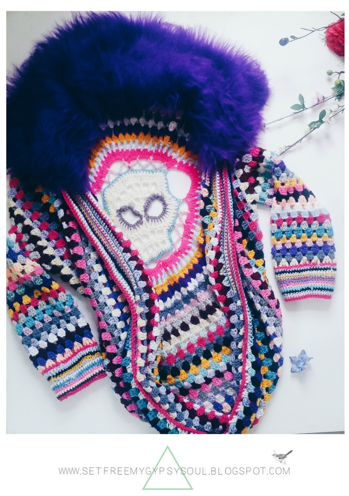 free freeform crochet sugar skull cardigan pattern