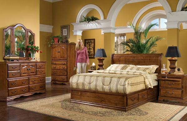 Furnitur kayu tempat tidur terbaik minimalis tebal