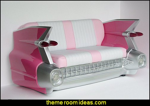 1959 CADILLAC CAR SOFA RETRO COUCH SEAT SETTEE 1959 PINK