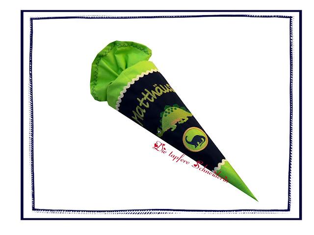 http://de.dawanda.com/product/99889063-geschwistertuete-kindergarten-zuckertuete-dino