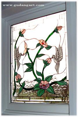 Kaca+Patri+Motif+Flora+dan+Fauna