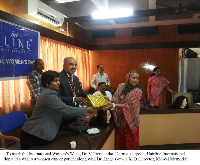 Hairline donates wigs to women cancer patients at Kidwai Memorial