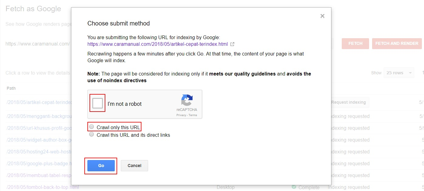 Submit Method Crawling URL - Search Console