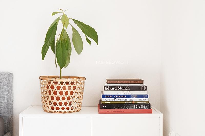 Kommode für den Sommer skandinavisch schlicht dekorieren mit Avocadopflanze, Korb und einem farbenfrohen Stapel Bildbände