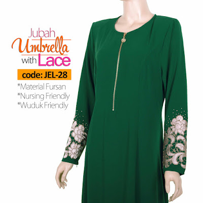 Jubah Umbrella Lace JEL-28 Green Depan 10