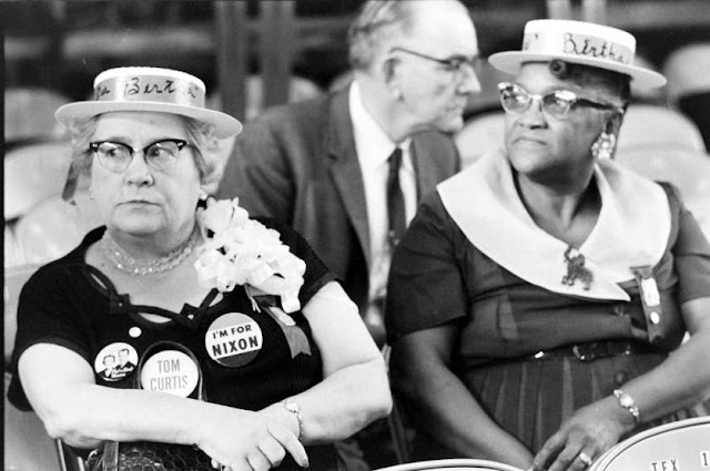 1960 Republican National Convention in Chicago. Two ladies who support Nixon