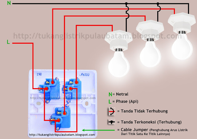 Diagram gambar (skema rangkaian) saklar 3 gang atau triple switch