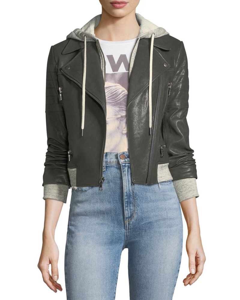 AO.LA 'Avril' Hooded Combo Sweatshirt Leather Jacket