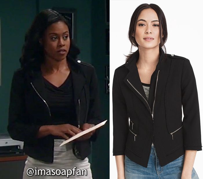 Jordan Ashford, Vinessa Antoine, Black Asymmetric Zip-Front Jacket, White House Black Market, GH, General Hospital