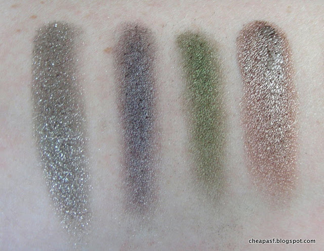 Comparison swatches of L'Oreal Infallible Eye Shadow in Gilded Envy, Urban Decay Mushroom, Urban Decay Mildew, and Maybelline Color Tattoo Bad to the Bronze