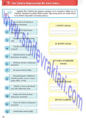 Top Yayınları 8. Sınıf İnkılap Tarihi Çalışma Kitabı Cevapları Sayfa 42