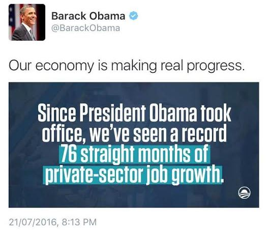 Americans come for Barack Obama after he tweets that there's been more jobs & economic growth since he became president