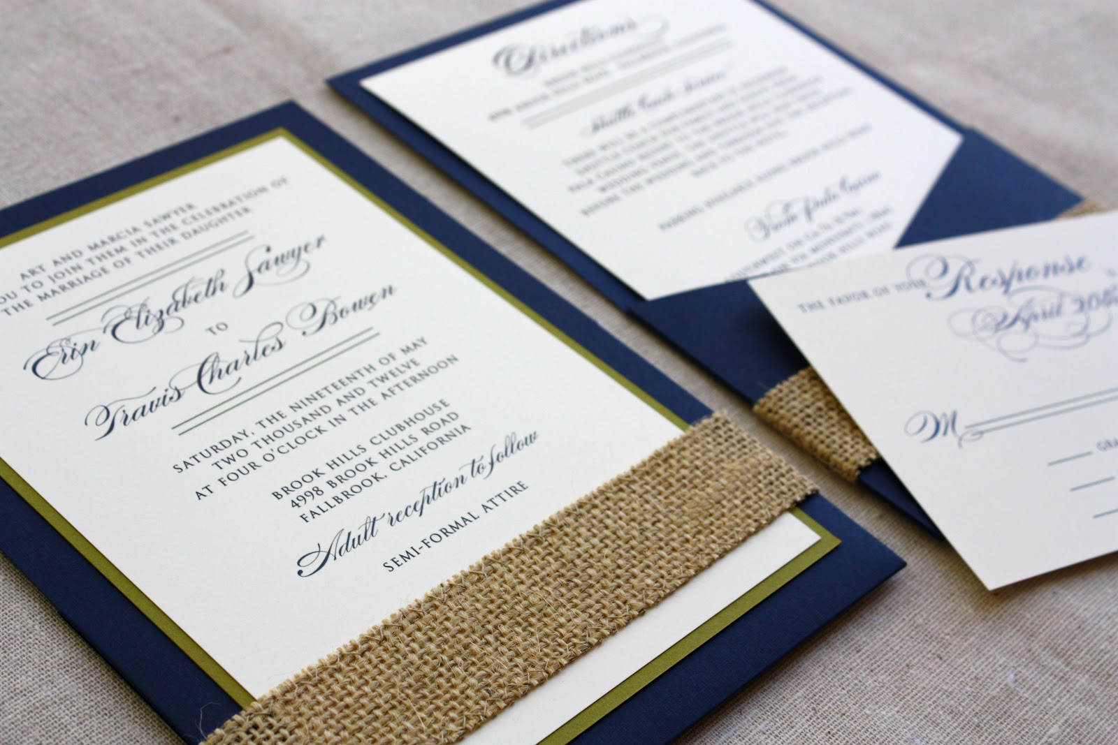 Burlap Wedding Invitations: Spotted Ink: Navy Invitations With A Burlap Touch