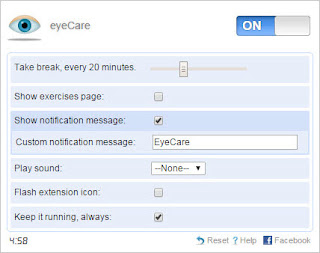 Eye care extension settings