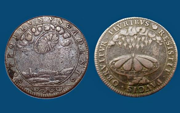 Monedas representando OVNIs