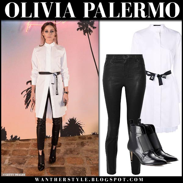 Olivia Palermo in long white belted shirt karl lagerfeld and black skinny pants fashion week outfits october 2