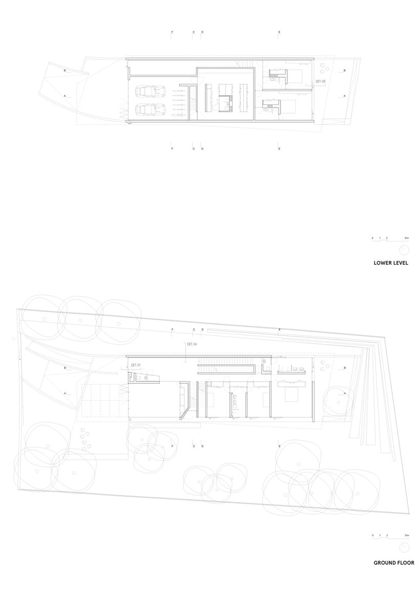 Lower two floor plans of the House with swimming pool by Wiel Arets Architects (WAA)