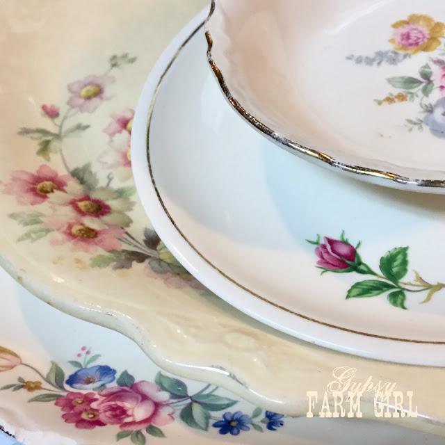 vintage pink floral dishes