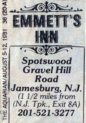 Emmett's Inn ad 1981 in Jamesburg, New Jersey