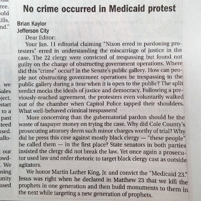 Letter on 'Medicaid 23' Pardon