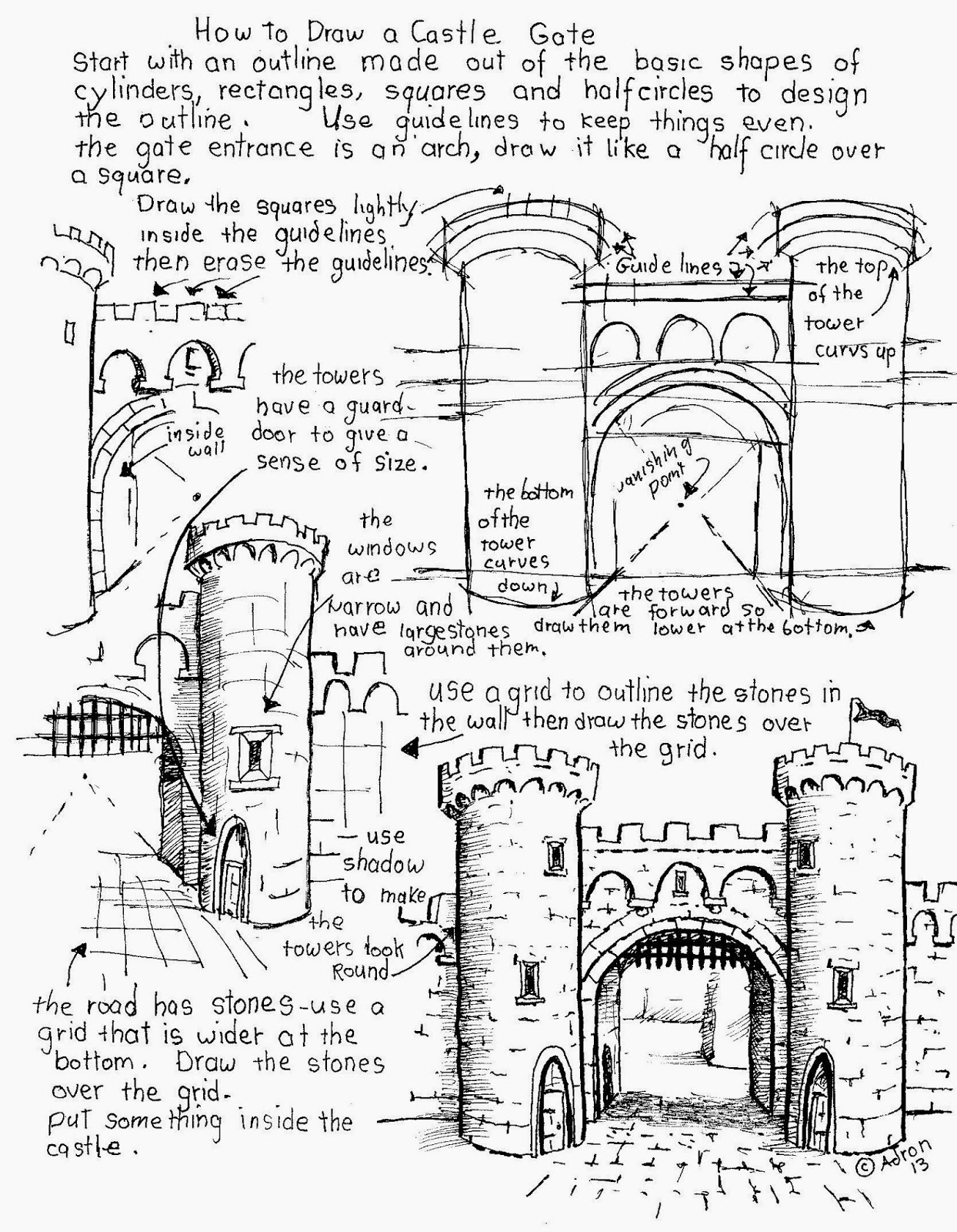How To Draw Worksheets For The Young Artist How To Draw A Castle Gate Worksheet