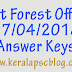 Kerala PSC Beat Forest Officer Exam 07-04-2018 Answer Keys