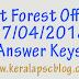 Kerala PSC Beat Forest Officer Exam 07-04-2018 Answer Keys