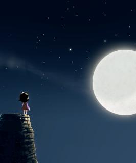 Lilly mirando a la luna.